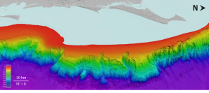 Submarine landslides and canyons on the continental slope offshore the east coast of Australia