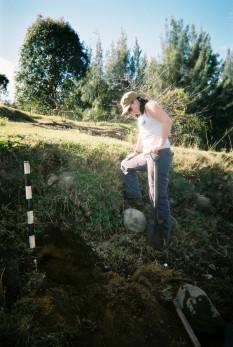 Sam Clarke taking river channel profiles