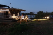 Working off the houseboat late into the night at Bells Reserve, Monteith
