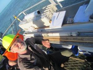 A very happy Prof. Gregg Webb (UQ) admiring his 1 m Porites birthday present!