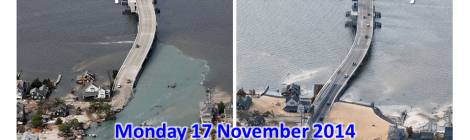 Mantoloking Bridge, New Jersey connecting to the Ocean County barrier island immediately after Hurricane Sandy (left), and the 100 days after the storm (right). Source: http://photoblog.nbcnews.com/_news/2013/02/07/16885463-100-days-after-hurricane-sandy-the-jersey-shore-slowly-recovers?lite