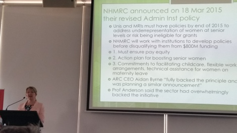 "Prof Jenny Martin giving her talk for ""Women at Sydney"" on March 2015. Teh slides shows new policies by NHRMC"