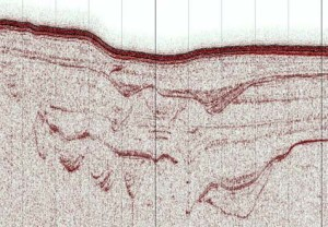 A high resolution Topas seismic reflection profile visualized in IHS Kingdom showing a cross section through the upper slope of the central Great Barrier Reef. Note the complex system of stacked subsurface channels.