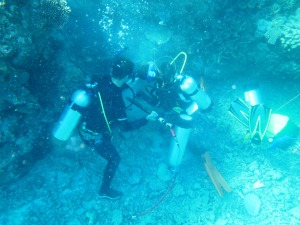James, the corer, takes off his fins and wears two weight belts so he has good control over the drill.