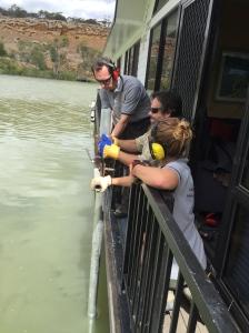 Steve, Dan and Elyssa coring off the side of the Break Free