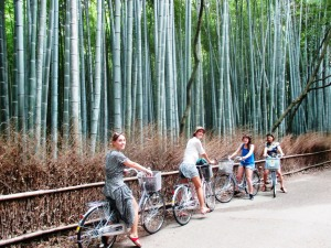 Bike riding around the Sagano Bamboo Forest.