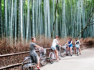 Bike riding around the Sagano Bamboo Forest.