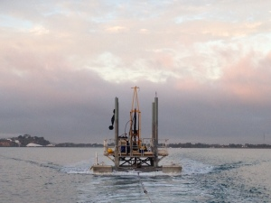 Drill rig being towed from Gladstone (Photo: T. Graham)