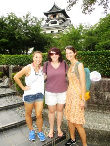 Karen Vyverberg from Uni of Florida (an honourary GRG member) with Bel and I exploring the oldest temple in Japan (Inuama Temple).