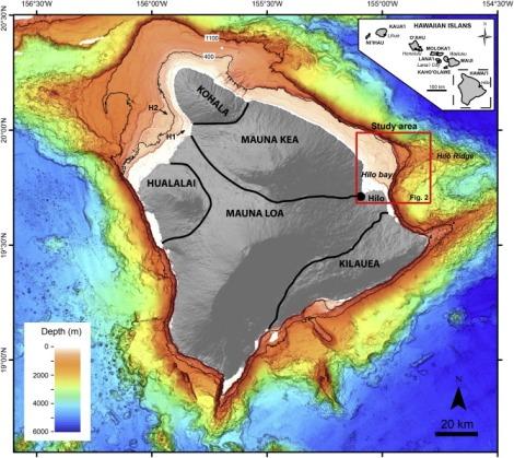 Map showing offshore study area (after Puga-Bernabéu, Á, et al. 2016).  Puga-Bernabéu, Á., Webster, J. M., Braga, J. C., Clague, D. A., Dutton, A., Eggins, S., Fallon, S., Jacobsen, G., Paduan, J. B., and Potts, D. C., 2016, Morphology and evolution of drowned carbonate terraces during the last two interglacial cycles, off Hilo, NE Hawaii: Marine Geology, v. 371, p. 57-81.