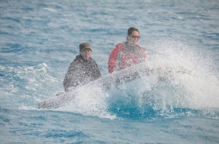 Strong winds and swell made work conditions rough even in the lagoon! Photo: Chris Roelfsema, UQ