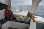 It's not all fun and games, sea sickness takes its toll on Steph and Rafa! Photo: Chris Roelfsema, UQ