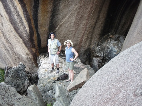 Andrea and I in the Seychelles standing on Last Interglacial Reef deposits ~ 8 m above present sea level! (Source: Dan S)