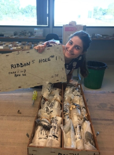 Madi cracking open another box of Great Barrier Reef cores
